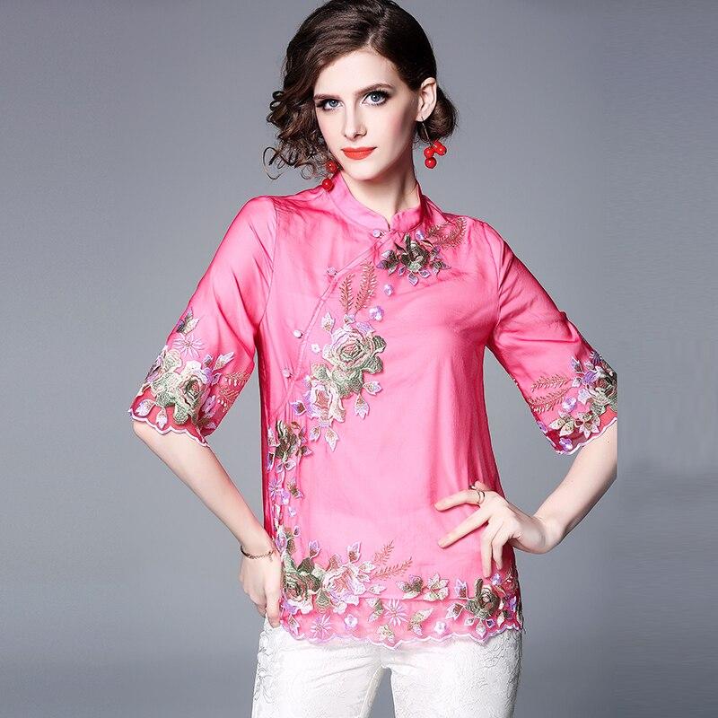 2019 printemps jolie broderie florale Blouse femmes de haute qualité Style chinois demi manches mandarine col élégant hauts