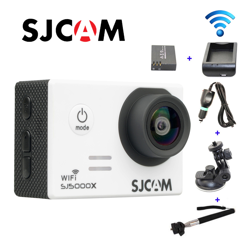 Free shipping!!Original SJCAM SJ5000X Elite WiFi 4K Gyro Sport Cam+Car Charger+Holder+Extra 1pcs Battery+Battery Charger+Monopod free shipping original sjcam m10 wifi mini action camera extra 1pcs battery battery charger car charger holder the monopod
