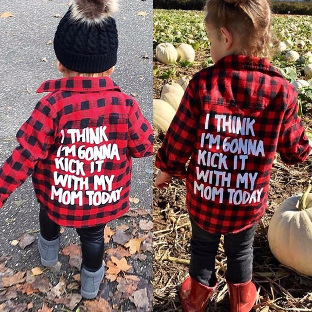 56bebcb83 Puseky Puseky Toddler Kids Boys Girls Letters Print Long Sleeve Button Down  Plaid Tops Baby Cotton Shirt Tracksuit Outfits 1-6Y