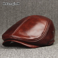 XdanqinX Men's Winter Hat Thicker Warm Cowhide Leather Berets With Ears Snapback Brands Fashion Tongue Cap Male Bone Dad's Hats