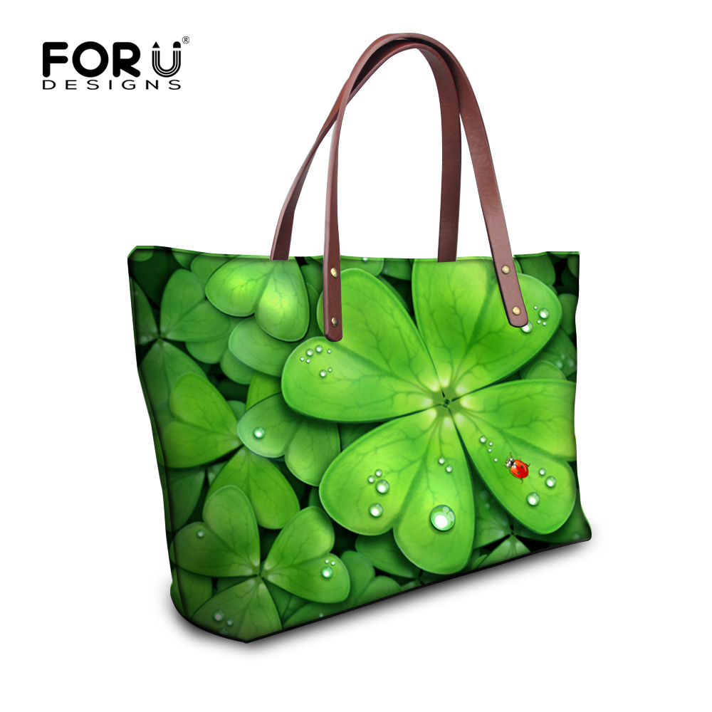 Forudesigns Green Leaf Printed Tote Bags Large Capacity Shoulder Bag Handbags For Women Casual Lady Top Handle Bolsas Mujer In From