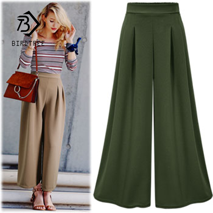 New Arrival Women Solid 3 Colors Cotton Elastic Waist   Wide     Leg     Pants   Lady Loose Elegant Female 2XL Plus Size Hot Sale B87309F