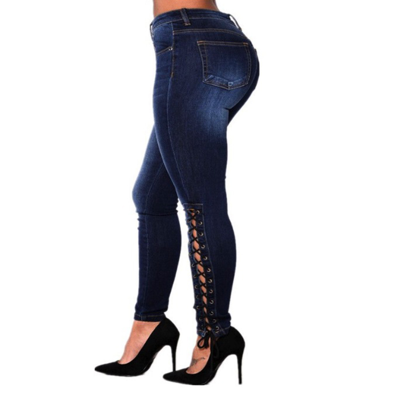 Jeans 2019 Womens High Waist Ripped Pockets Jeans Denim Pants Blue Button Ankle Length Wide Leg Holes Pants Spring Hot Sales B91202j