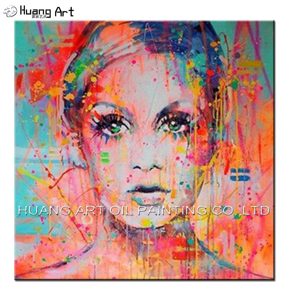 Professionnel Approvisionnement D'usine Main Abstraite Fille Coloré Visage Peinture À L'huile Pour La Maison ou À L'hôtel Décoration Murale Portrait Peinture