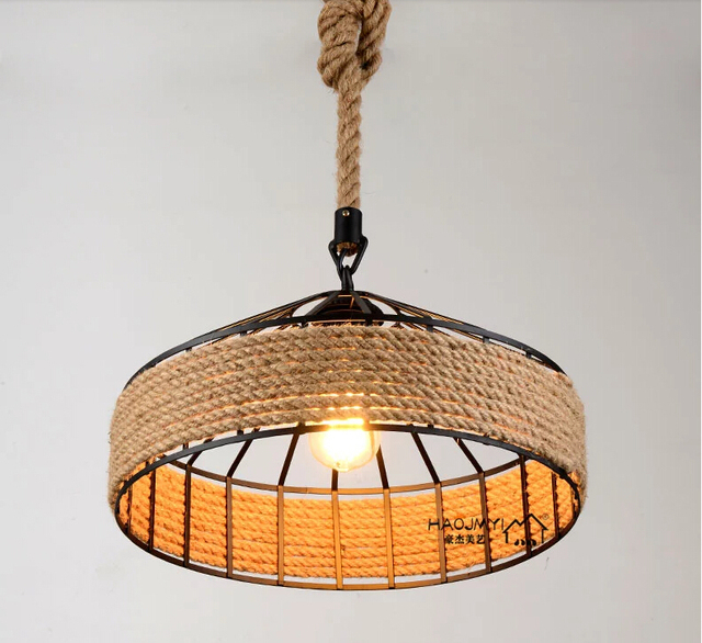 Nordic Vintage Hemp Rope Pendant Lamp American Country Retro Hanglamp Lighting For Restaurants Light