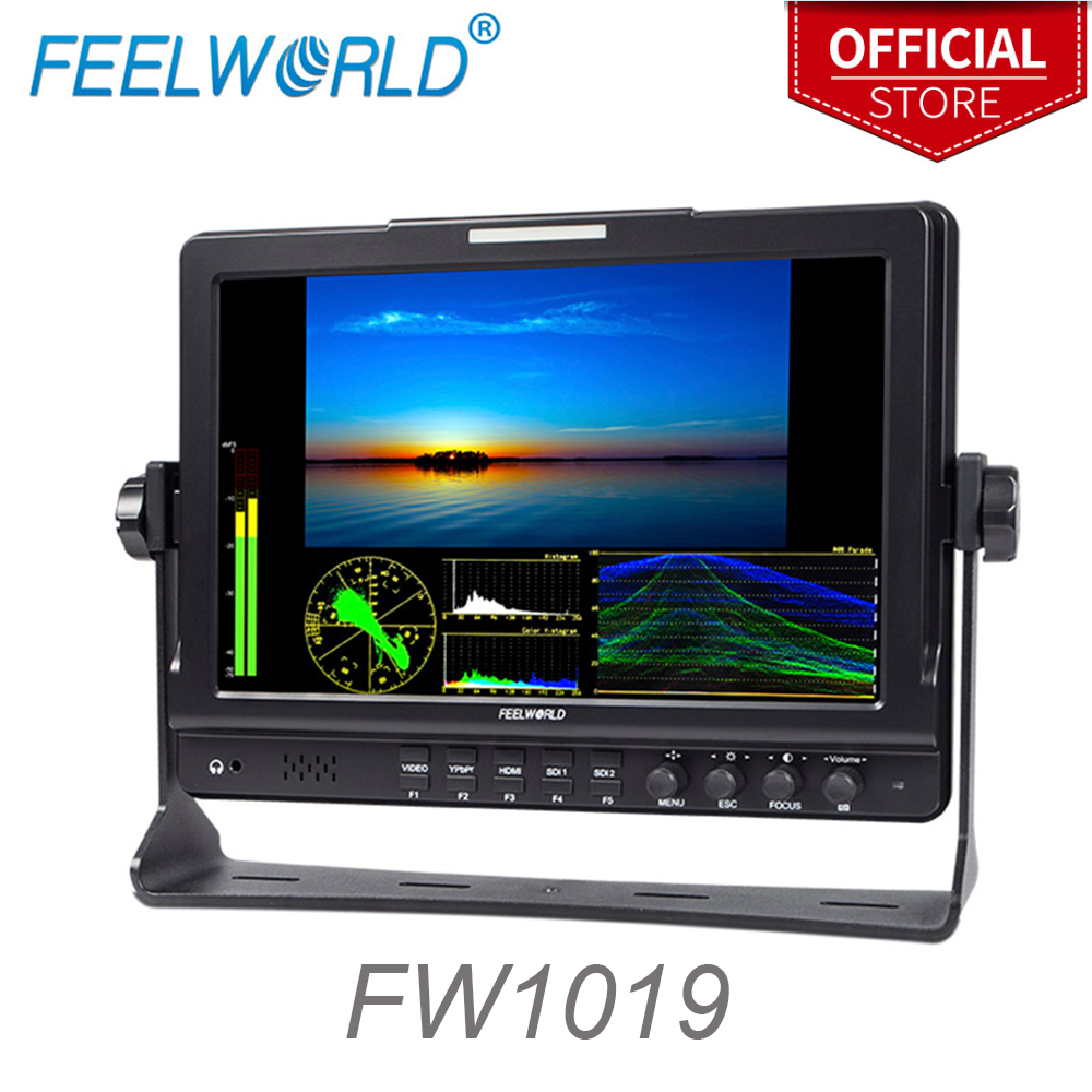 Feelworld 10.1″ IPS 1280×800 Seamless Switch Dual 3G-SDI Camera-Top Monitor with Waveform Vectorscope Color Histogram FW1019