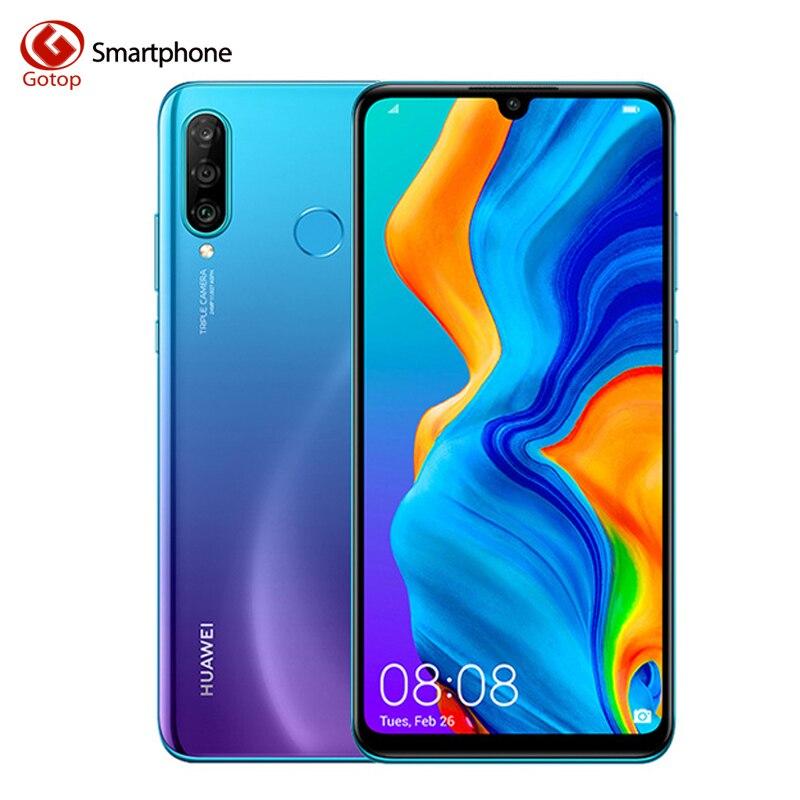Smartphone Global HUAWEI P30 Lite Nova 4e Kirin 710 Octa Core Android 9.0 identification d'empreintes digitales 3340 mAh 6.15 pouces 4 * caméras téléphone portable