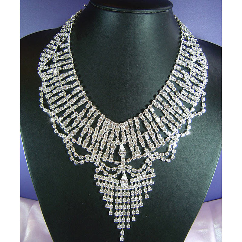 Bridal Wedding Party Drag Queen Crystal Necklace Earrings Set CS1146