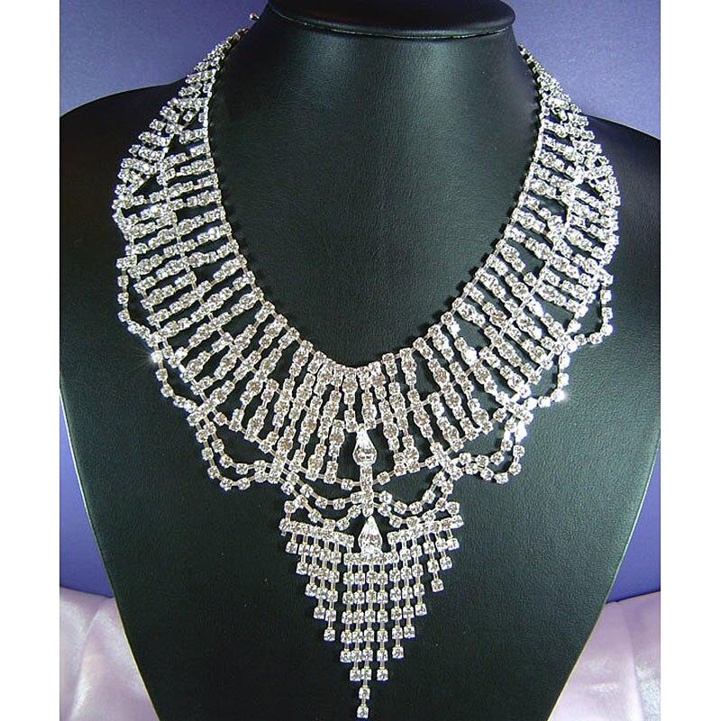 Nuptiale de mariage glisser reine cristal collier boucles d'oreilles ensemble CS1146