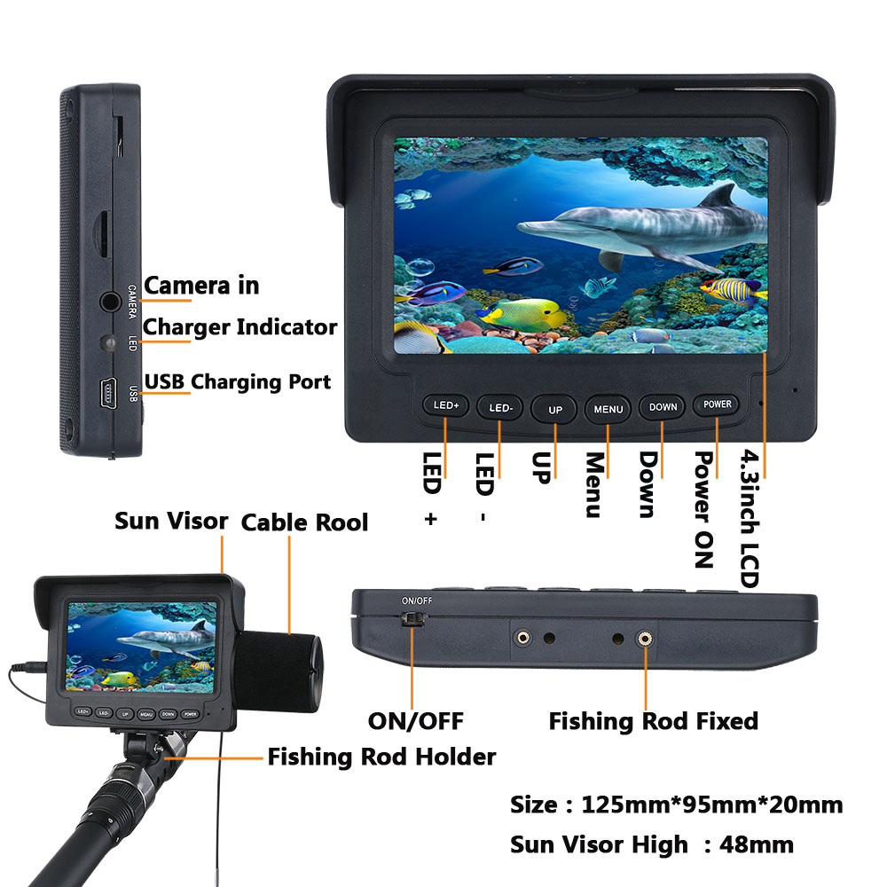 Daifgs Underwater Fishing Camera Kit 1000TVL 4 3 inch 15m 30m Fish Finder Camera with Professional Video Camera Infrared Lamp in Fish Finders from Sports Entertainment