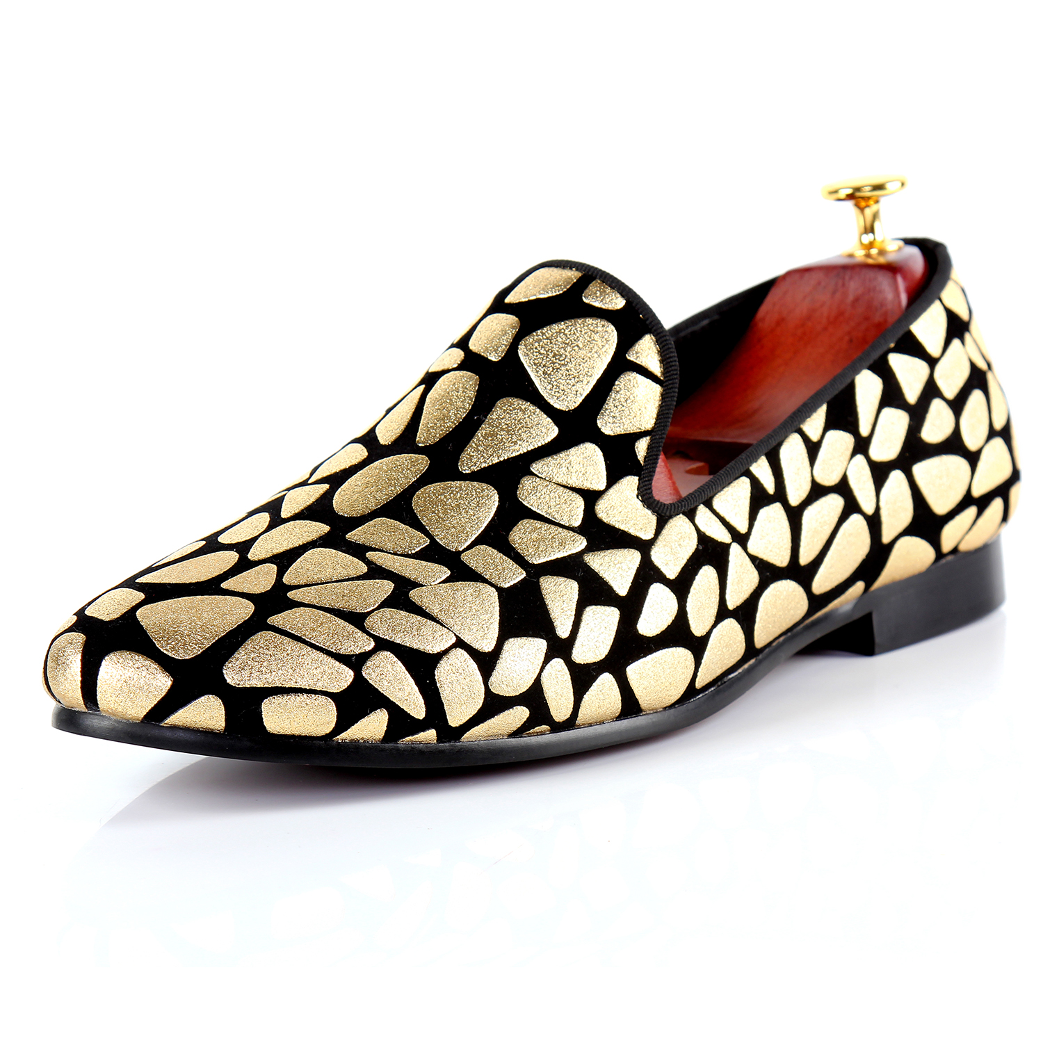 Harpelunde Mens Formal Shoes Gold Print Flat Shoes Hot Sell Wedding Shoes Size 7-9