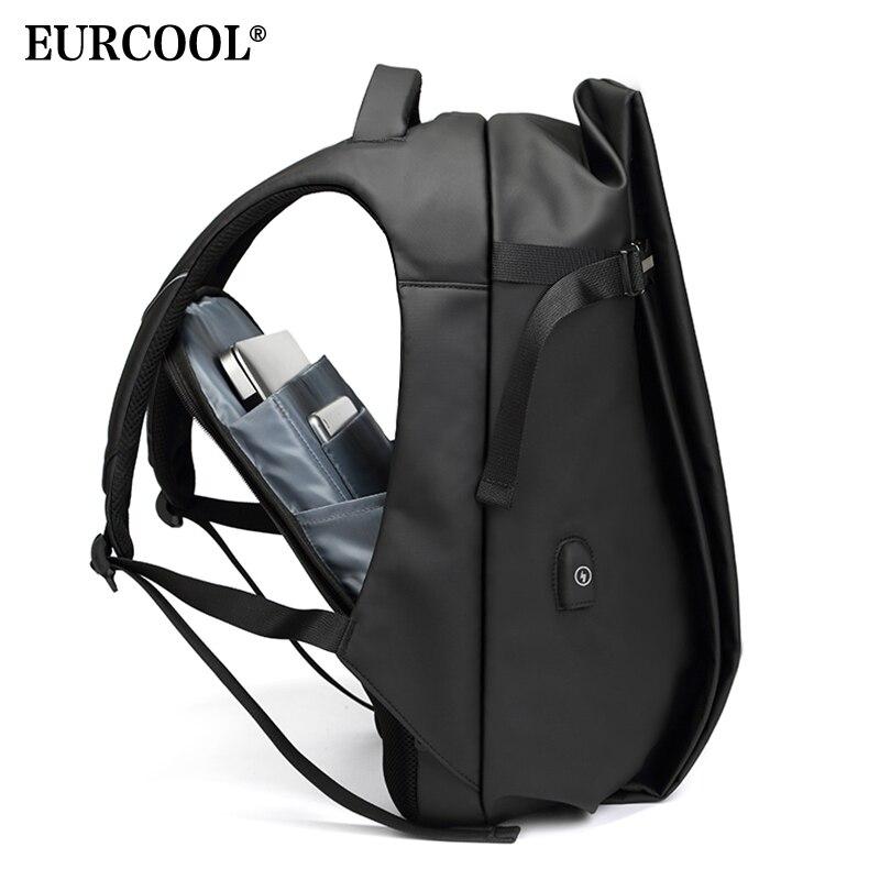 EURCOOL мужской модный рюкзак для путешествий большой емкости Универсальный рюкзак с USB зарядным устройством 15,6 рюкзак для ноутбука черный n1845