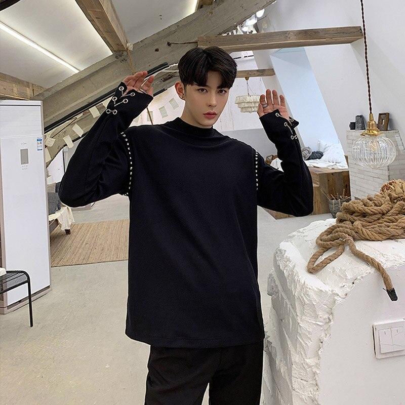 35d9a0e221 2019 New Men White Black Chain Rivet Long Sleeve T-shirt Male Streetwear Hip  Hop Punk Tees Shirts Mens Spring Tshirt