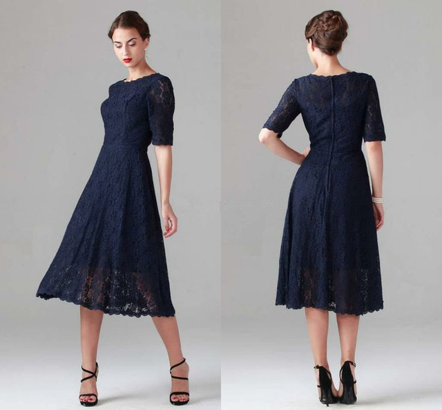 Navy Blue Short Sleeves Lace Mother Of The Bride Dress Tea Length