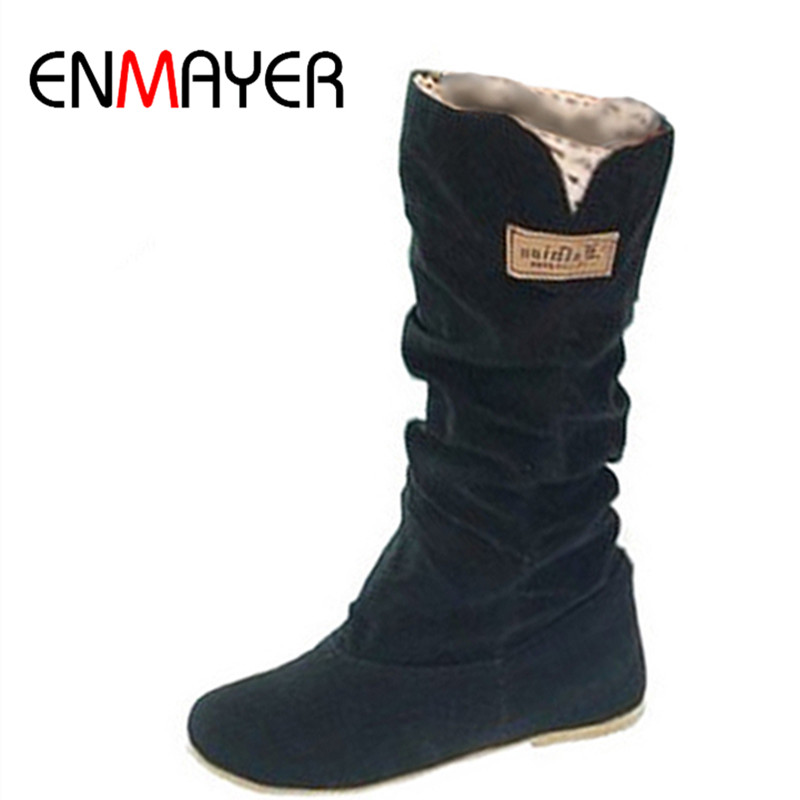 ENMAYER Size34-43New Women Winter Flats Flock Round Toe Fashion Knee-high Snow Boots for Women Casual Shoes Sweet Platform Boots