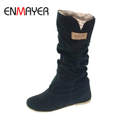 ENMAYER Size34 43New Women Winter Flats Flock Round Toe Fashion Knee high Snow Boots for Women