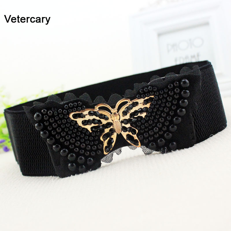 Handmade Pearl Beads Elastic Waistband Women Rhinestone Metal Butterfly Buckle Lace Elastic Waist Belt Beige Dress Cummerbunds
