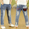 New 2016 spring/Autumn Teens Jeans For Children's Elastic Waist Denim Long Pant boy's Casual Jeans High Quality