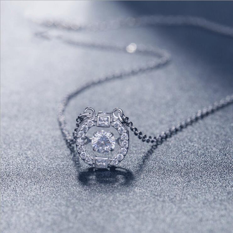 KOFSAC New Fashion 925 Sterling Silver Necklaces For Women Party Dancing Zircon Exquisite Crystal CZ Necklace Fine Jewelry Gifts
