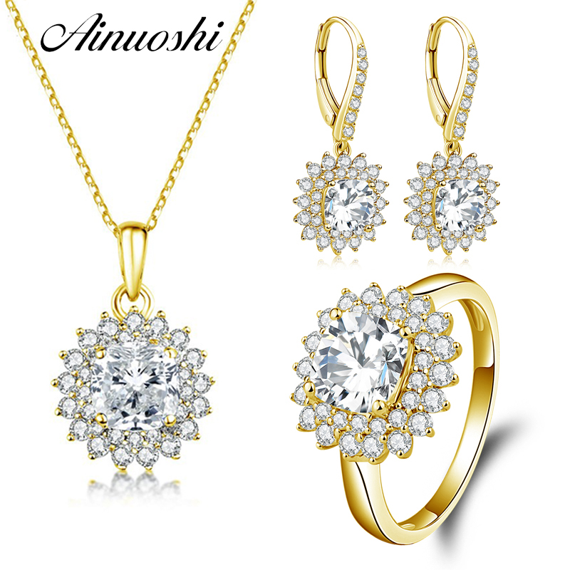 AINUOSHI 10K Solid Yellow Gold Jewelry Set Cushion Cut Square Pendant Halo Ring Drop Earring Fine Wedding Women Jewelry Set Gift