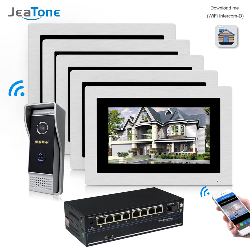7'' WIFI IP Video Door Phone Intercom Wireless Door Bell Home Apartment Access Control System Touch Screen Motion Detection 1-5