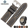 HENGRC Italy Genuine Leather Watch Band Strap Men Cowhide Thick Watchband Belt Lady 20 22 24mm Bracelet Metal Buckle For Panerai