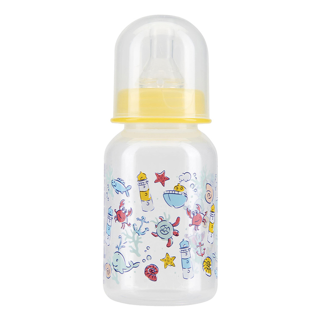 Бутылочка КУРНОСИКИ с крышкой и силиконовой соской молочной, 125 мл