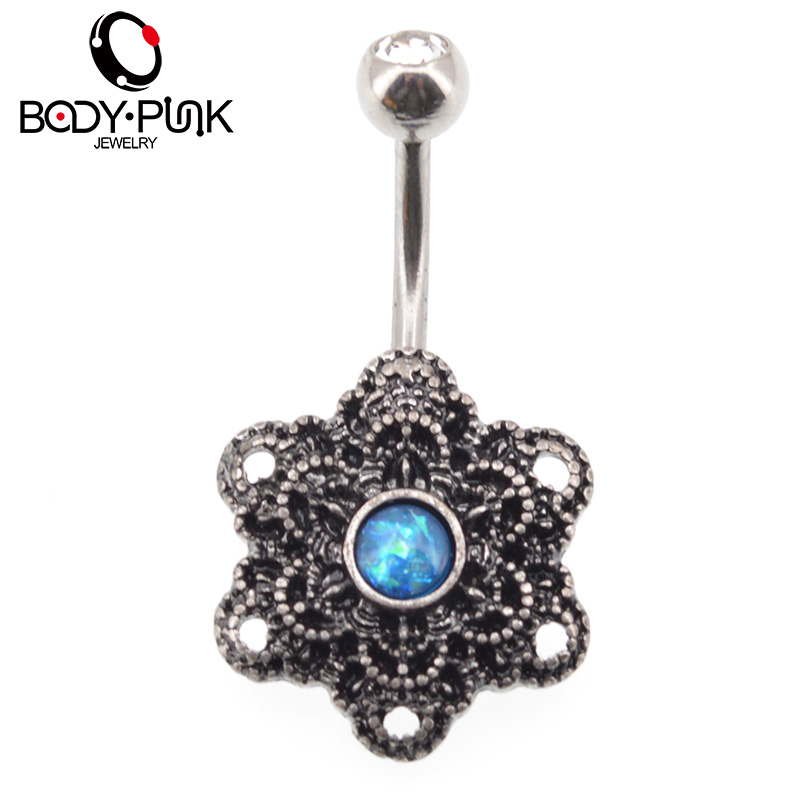 BODY PUNK Trendy Belly Button Rings Burnished SS Mandala Opal Curve - Fashion Jewelry