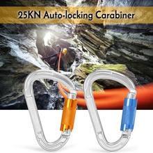 25kn torção porta de travamento mosquetão certificado bloqueio automático mosquetão d anel fivela de escalada ao ar livre rapel canyoning rede