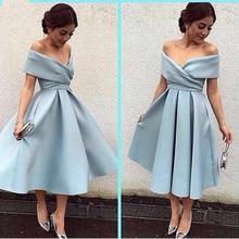 Einfache Blau Flügelärmeln Short Prom Dresses Fashion V-ausschnitt Falten Knielangen Abendkleider Günstige Stain A-linie Kurze Heimkehr Kleid