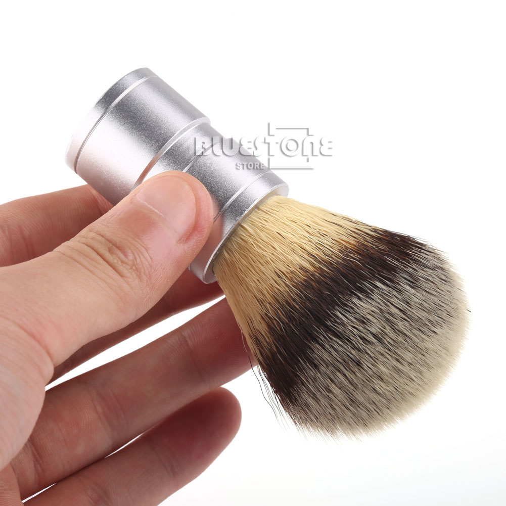 Men's Gift Silvertip Faux Badger Brush Hair Shaving Brush Stainless Metal Handle Barber Tool
