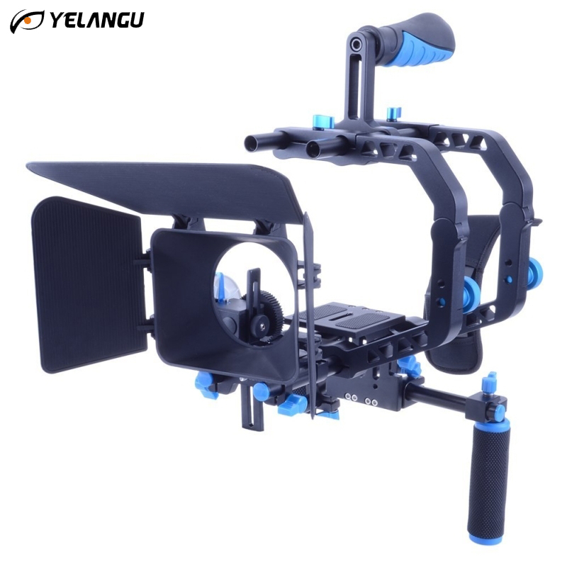 YELANGU Dual C Shape Handheld Bracket Aluminum Protective DSLR Camera Cage Stabilizer Hand Holder Tripod Accessories