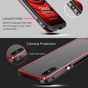 Image 5 - Metal Bumper Case For iPhone X XR XS Max Tempered Glass Back Cover Aluminum Metal Bumper Shockproof Case For iPhone 8 7 6s Plus