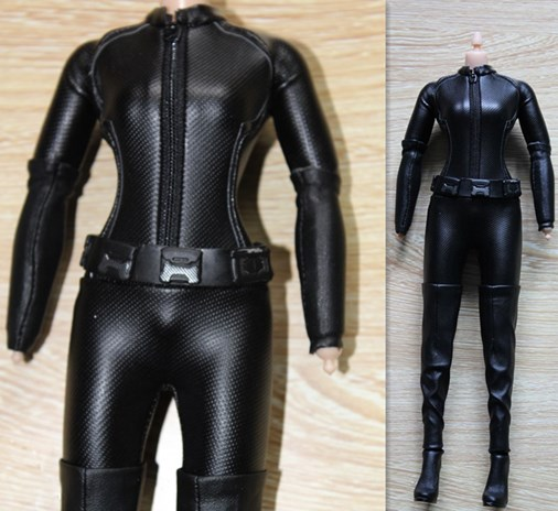 1/6 Scale Female Leather Suit & Long Boots Model Clothes Set Fit HT Batman Catwoman VERYCOOL PH Figure Body Figure Accessory