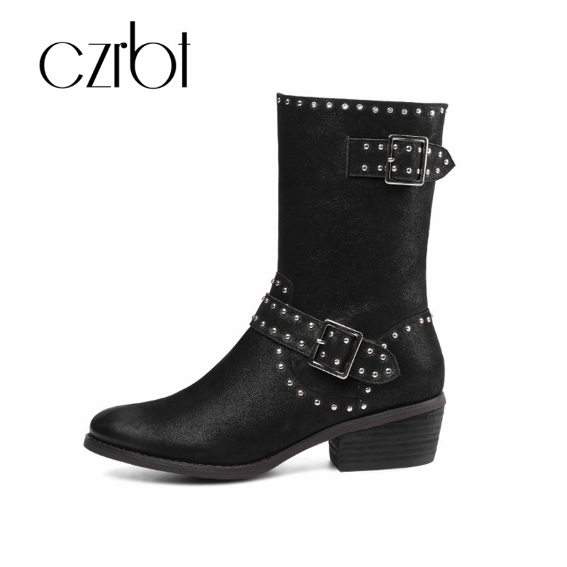 czrbt 2018 winter new leather rivet  side zipper clasp water diamond fashion mid-pipe female women boots 33~43 sizeczrbt 2018 winter new leather rivet  side zipper clasp water diamond fashion mid-pipe female women boots 33~43 size