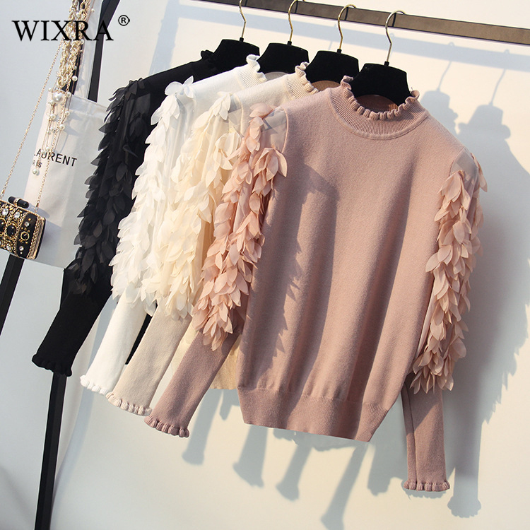 Wixra Basic Pullover Spring Autumn Pretty Women Sweater Solid Leaves Patchwork Sweaters Lantern Sleeve Knitted Pullovers-in Pullovers from Women's Clothing on AliExpress - 11.11_Double 11_Singles' Day 1