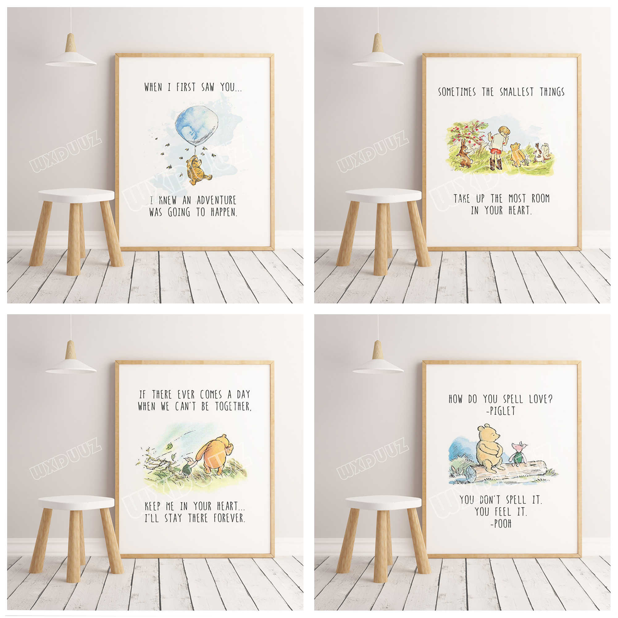 Winnie the Pooh watercolor poster print children's room decoration Cartoon Art Decor Home Decor wall art canvas painting #K279