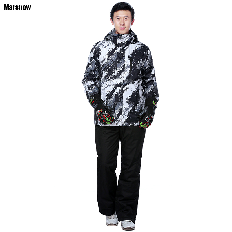Marsnow Snowboard jacket and pants Male 2018 Waterproof Breathable Thicken Warm Snow Sets Sportswear Sport Winter Ski Suit Men winter ski suit men waterproof windproof thicken breathable ski jacket and trousers sets for male print snowboard coats jackets