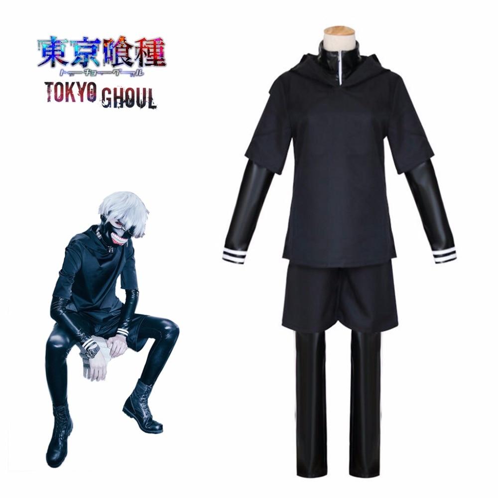 Kaneki Ken Cosplay Tokyo Ghoul Japanese Anime Top Pants Jacket With Mask Black Adult Men Costume