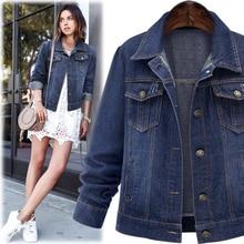 Large size 5XL 2016 Autumn Women Denim Jacket  Long Sleeve Short Denim Coat For Women Jeans Jacket Plus Size Outwear