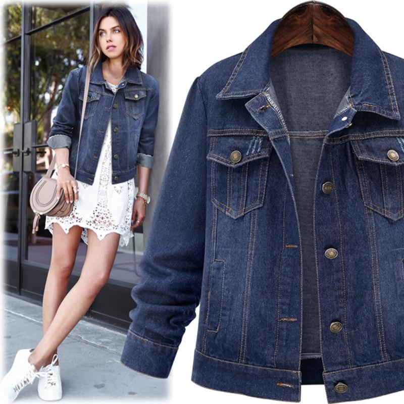 Large size 5XL 2016 Autumn Women Denim Jacket Long <font><b>Sleeve</b></font> Short Denim Coat For Women <font><b>Jeans</b></font> Jacket Plus Size Outwear