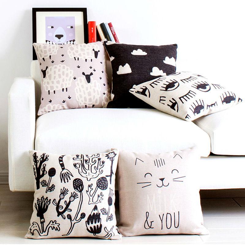 Black And White Decorative Throw Pillows : New Black and White Geometry Pillow Linen Cushion Decorative Pillows Christmas Decor Throw ...