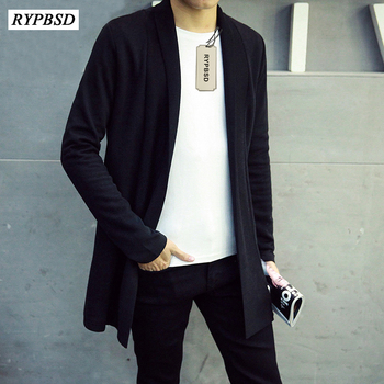 2019 Men's Spring Shawl Windbreaker Men's Long Section of Young People Thin Section Slim Cardigan Jacket Black