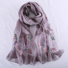 купить Luxury Brand 2019 New Women Silk Scarves Fashion Embroidery Women Scarf Shawl Quality Soft Wool Scarf Lady Pashmina Foulard Wrap дешево