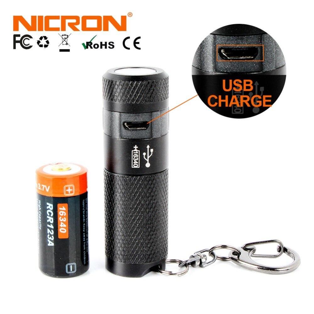 NICRON 3 Watt Mini LED Taschenlampe Schlüsselanhänger Taschenlampe usb Licht Wasserdicht LED USB Aufladbare Lampe 3 Modi Taschenlampe Lampe Für Jagd schwarz