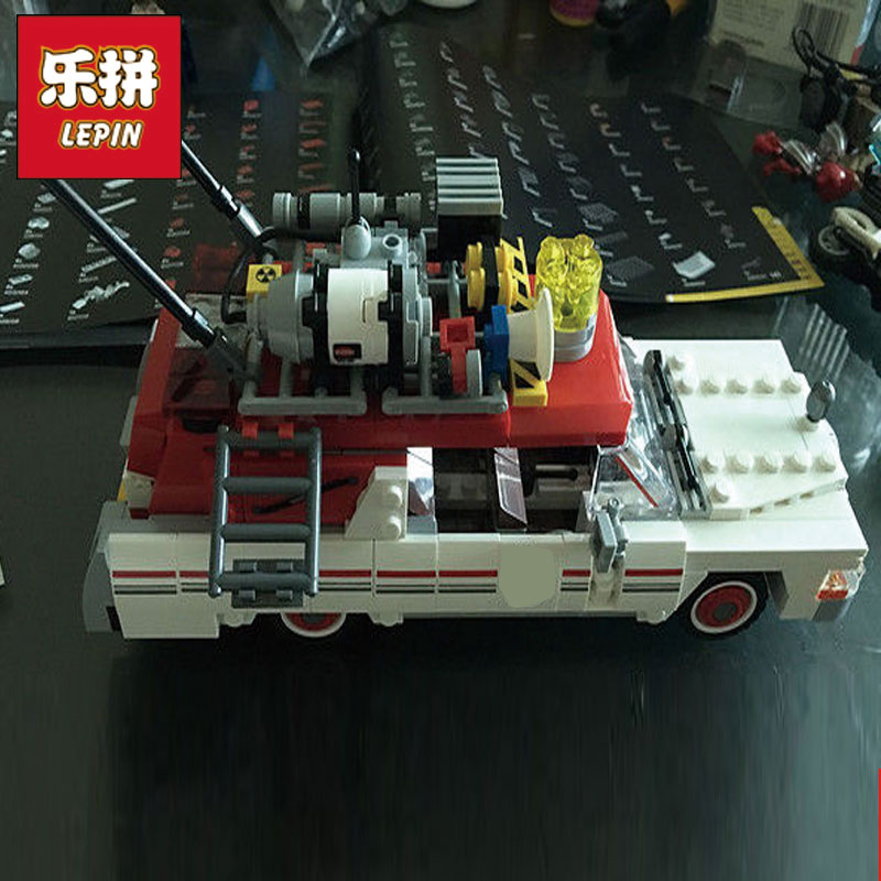 Lepin 16032 586Pcs New Genuine Movie Series The Ghostbusters Ecto-1&2 Set With Le Building Blocks Bricks Toys 75828 lepin 16032 586pcs new genuine movie series the ghostbusters ecto 1
