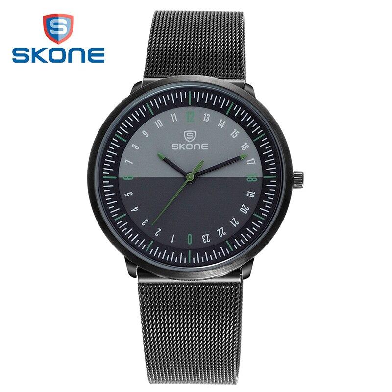 SKONE watch men's wristwatches ultra thin watches for men stainless steel mesh quartz watch day night 24 hours mens wrist watch