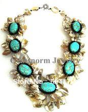 Мода Shell Ожерелья Индийский Плоский Камень Природный Коренастый Цветок Себе Ожерелье Бесплатная Доставка SP014