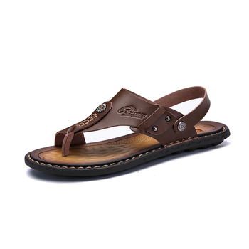 Mens Flip Flops Plus Size 47 Brand Summer Genuine Leather Sandals Men Casual Shoes Outdoor Beach Sandals Comfortable slippers 1
