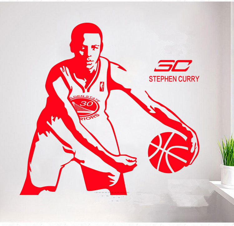 Free shipping diy wallpaper Basketball superstar Stephen Curry wall stickers Home Decoration Stickers for kids